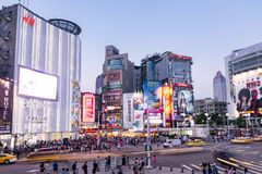 Taipei, Taiwan. 29-May-2018. Long exposure photo of crossing traffic and people in Ximen square stock image
