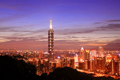The Taipei 101, Taiwan. The Taipei 101 night view, Taiwan stock image