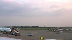 4k Moving dolly shot of plane parked in international airport. Beutiful view stock video footage