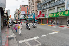 TAIPEI, TAIWAN - NOVEMBER 30, 2016: Taipei Street in one of suburb, district. Stock Photos