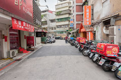TAIPEI, TAIWAN - NOVEMBER 30, 2016: Taipei Street in one of suburb, district. Royalty Free Stock Image
