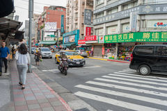 TAIPEI, TAIWAN - NOVEMBER 30, 2016: Taipei Street in one of suburb, district. Royalty Free Stock Photo