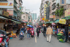 TAIPEI, TAIWAN - NOVEMBER 30, 2016: Taipei Street in one of suburb, district. Market Street in Taipei. Stock Photos