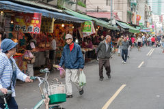 TAIPEI, TAIWAN - NOVEMBER 30, 2016: Taipei Street in one of suburb, district. Market Street in Taipei. Stock Images