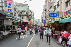 TAIPEI, TAIWAN - NOVEMBER 30, 2016: Taipei Street in one of suburb, district. Market Street in Taipei. Royalty Free Stock Photos