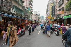 TAIPEI, TAIWAN - NOVEMBER 30, 2016: Taipei Street in one of suburb, district. Market Street in Taipei. Stock Photos
