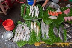 TAIPEI, TAIWAN - NOVEMBER 30, 2016: Taipei Street in one of suburb, district. Market Street in Taipei. Selling Fish Stock Photo
