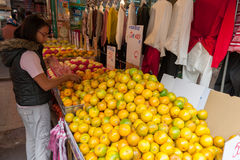 TAIPEI, TAIWAN - NOVEMBER 30, 2016: Taipei Street in one of suburb, district. Market Street in Taipei. Selling Fruits Stock Images