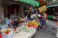 TAIPEI, TAIWAN - NOVEMBER 30, 2016: Taipei Street in one of suburb, district. Market Street in Taipei. Selling Fruits and Vegetabl Royalty Free Stock Image