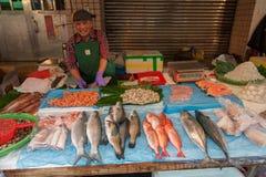 TAIPEI, TAIWAN - NOVEMBER 30, 2016: Taipei Street in one of suburb, district. Market Street in Taipei. Selling Sea Food. Stock Photos