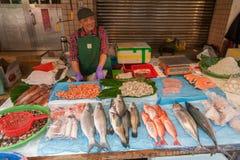 TAIPEI, TAIWAN - NOVEMBER 30, 2016: Taipei Street in one of suburb, district. Market Street in Taipei. Selling Sea Food, Fish. Royalty Free Stock Photography