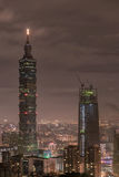 TAIPEI TAIWAN - NOVEMBER 29, 2016: Taipei Taiwan night panorama horisont cityscape Finansiell mitt I för Taipei 101 Taipei värld Royaltyfri Foto