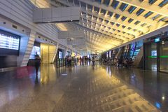 Inside of Taoyuan Airport, Taipei, Taiwan. Taoyuan was the 11th busiest airport worldwide in terms of international passenger numb. TAIPEI, TAIWAN - OCT09, 2016 stock photo