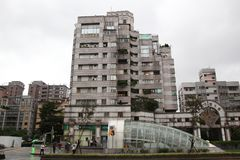 Taipei,taiwan-October 17 ,2018 :Old apartment Opposite 101 Building at taipei,taiwan in the rannyday.