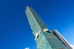 TAIPEI TAIWAN - OKTOBER 9,2017: Sikt av den Taipei 101 skyskrapan, huvudstad på nya Taipei Arkivbild