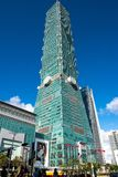 TAIPEI TAIWAN - OKTOBER 9,2017: Sikt av den Taipei 101 skyskrapan, huvudstad på nya Taipei Royaltyfri Foto
