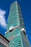 TAIPEI TAIWAN - OKTOBER 9,2017: Sikt av den Taipei 101 skyskrapan, huvudstad på nya Taipei Royaltyfri Bild
