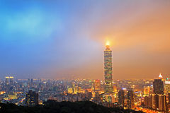 Taipei, Taiwan skyline viewed during the night Stock Photos