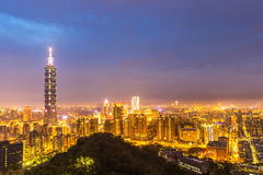 Taipei, Taiwan skylines. Building at dusk royalty free stock images