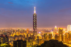 Taipei, Taiwan skylines. Building at dusk royalty free stock photos