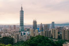 Taipei. Taiwan with  101 skyscraper on sunset Royalty Free Stock Images