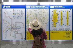 Metro map with tourist in Taipei. stock images