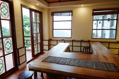 Taipei Tea House. The tea house is a Taiwanese traditional skill of Kung Fu Tea, there`s many Dr. Tea will performed stock images