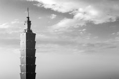 Taipei 101 tower black and white Stock Photo