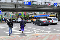 Taipei traffic under the highway bridge Royalty Free Stock Images
