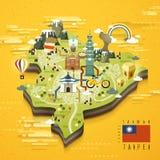 Taipei travel map Stock Photo