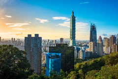 Taipei 101. A view of the Taipei 101 tower from Xiangshan's viewing deck stock image