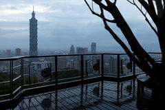 Taipei viewed from a vantage point at dusk Royalty Free Stock Images