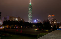 Taipei World Financial Center. Night skyline of Taipei, Taiwan including the Taipei World Financial Center stock photos