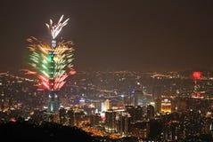 Taipei101 vuurwerk Stock Foto