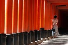 taisha f?r fushimiinarirelikskrin CinnoberfärgTorii för tusentals otaliga portar på en kulle arkivfoto
