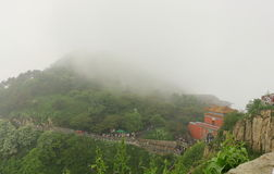 Taishan mountain in the misty rain Royalty Free Stock Images
