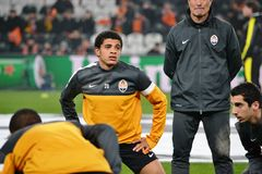 Taison preparing for the match of the Champions League Stock Images