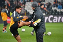 Taison preparing for the match of the Champions League Stock Image