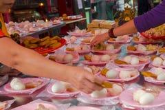 Taiwán, creencias religiosas, sacrificios, cerdo, verduras, alubias secas, huevos, bolas de arroz, pequeños tres animales, foto de archivo libre de regalías