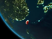 Taiwán en la noche de la órbita ilustración del vector