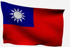 Taiwan 3d flag. Taiwan3d flag isolated on white background Stock Images