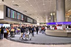 Taiwan Airport. TAIPEI, TAIWAN - NOVEMBER 22, 2018: People wait at Taoyuan International Airport near Taipei, Taiwan. It is Taiwan\'s largest and busiest airport royalty free stock images
