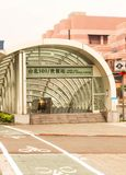 Closeup of Entrance MRT Station in Taiwan. Taiwan - Apr 15, 2017, Editorail use only; Closeup of Entrance MRT Station in Taiwan stock photos