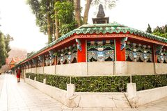 Closeup fence of Longshan Temple in Taiwan. Taiwan - Apr 15, 2017, Editorail use only; Closeup fence of Longshan Temple in Taiwan royalty free stock photo