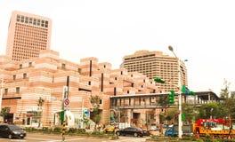 Taiwan - Apr 15, 2017, Editorail use only; Closeup of orange bui. Lding near Taipei 101 in Taiwan royalty free stock images