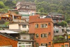 Closeup of Scene Jiufen village hillside buildings on the mountain. Taiwan - Apr 15, 2017, Editorail use only; Closeup of Scene Jiufen village hillside buildings stock photo