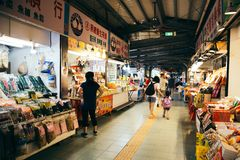 Dried fish and food market at Yehliu Geopark in Taiwan stock photos