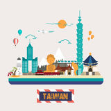 Taiwan attractions collection vector illustration