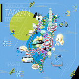 Taiwan attractions map Stock Photo