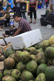 Taiwan businessmen selling coconuts in amoy city,c Royalty Free Stock Photography